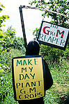 A demonstrator dressed as the GM Grim Reaper at an  Anti GM maize protest in Bridport,  Dorset