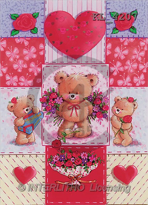 Interlitho, Arthur, VALENTINE, paintings, 3 bears, hearts, flowers(KL4207,#V#) illustrations, pinturas ,everyday