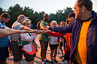 August 16, 2017; The pilgrims come together for a morning prayer before heading out on their bikes for day 3 of ND Trail. They biked 23.2 miles and walked 7.8 from Pimento to Bridgeton. As part of the University's 175th anniversary celebration, the Notre Dame Trail will commemorate Father Sorin and the Holy Cross Brothers' journey. A small group of pilgrims will make the entire 300+ mile journey from Vincennes to Notre Dame over  two weeks. (Photo by Barbara Johnston/University of Notre Dame)