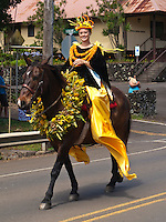 Woman Pa'u riders on horseback in King Kamehameha Day Parade, North Kohala, Big Island of Hawaii, Kapa'au Town.
