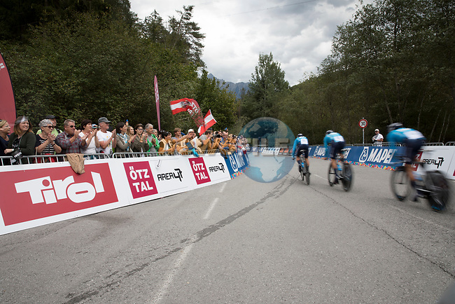 Movistar Team team power off the start ramp during the Men's Elite Team Time Trial of the 2018 UCI Road World Championships running 62.8km from Ötztal to Innsbruck, Innsbruck-Tirol, Austria 2018. 23rd September 2018.<br /> Picture: Innsbruck-Tirol 2018/Oliver Soulas | Cyclefile<br /> <br /> <br /> All photos usage must carry mandatory copyright credit (© Cyclefile | Innsbruck-Tirol 2018/Oliver Soulas)