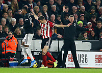 24th November 2019; Bramall Lane, Sheffield, Yorkshire, England; English Premier League Football, Sheffield United versus Manchester United; Ole Gunnar Solskaer Manager of Manchester United appeals for a foul as Chris Basham  of Sheffield United fouls Marcus Rashford of Manchester United - Strictly Editorial Use Only. No use with unauthorized audio, video, data, fixture lists, club/league logos or 'live' services. Online in-match use limited to 120 images, no video emulation. No use in betting, games or single club/league/player publications