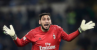 Calcio, Serie A: Lazio, Stadio Olimpico, 13 febbraio 2017.<br /> Milan' s goalkeeper Gianluigi Donnarumma reacts<br /> during the Italian Serie A football match between Lazio and Milan at Roma's Olympic Stadium, on February 13, 2017.<br /> UPDATE IMAGES PRESS/Isabella Bonotto
