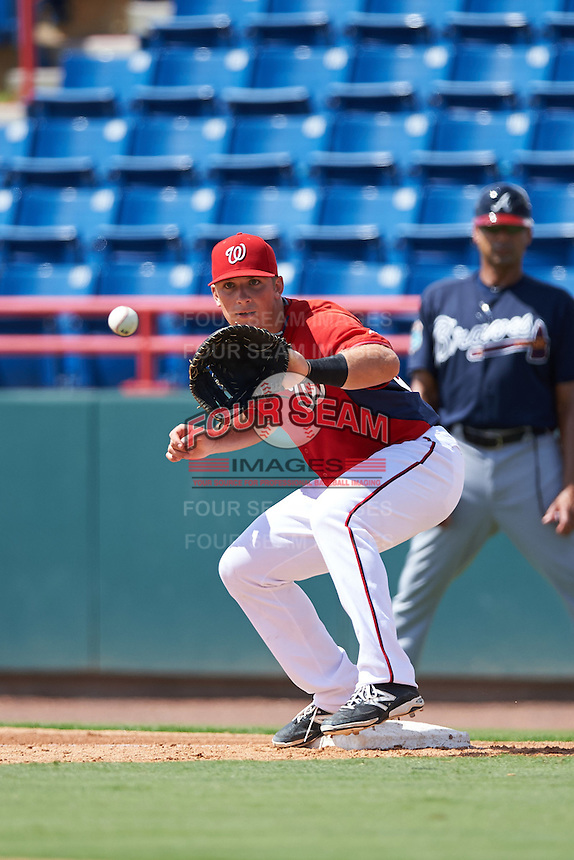 Washington Nationals first baseman Chance Shepard (22) during an Instructional League game against the Atlanta Braves on September 30, 2016 at Space Coast Stadium in Melbourne, Florida.  (Mike Janes/Four Seam Images)