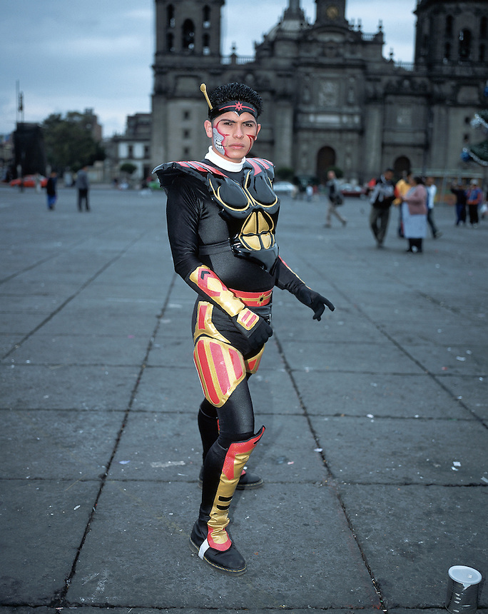 Self proclaimed super heroe in the mexico city Zocalo (main square or plaza)