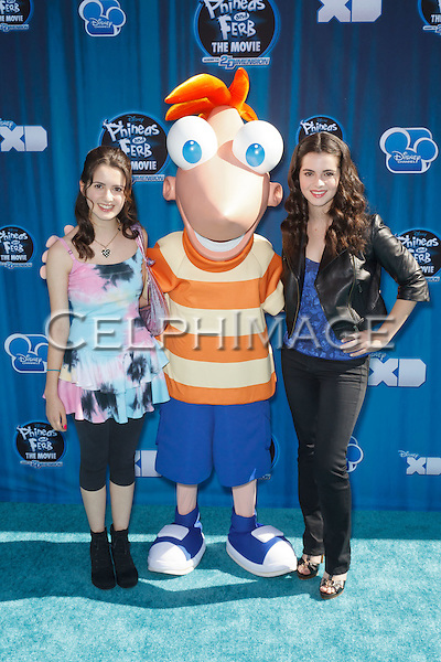 "LAURA MARANO, PHINEAS, VANESSA MARANO. Hollywood Premiere of Disney Channel's Original Movie, ""Phineas and Ferb: Across the 2nd Dimension,"" at the El Capitan Theatre. Hollywood, CA USA. August 3, 2011. ©CelphImage"