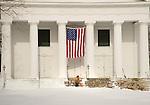1st Congregational Church, 26 Meeting House Lane, Madison, CT 06443. Man shoveling snow.