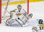 25 November 2016: University of Vermont Catamount Goaltender Madison Litchfield, a Senior from Williston, VT, makes a third period save against the Saint Cloud State Huskies at Gutterson Fieldhouse in Burlington, Vermont. The Lady Cats defeated the Huskies 5-1 to take the first game of the 2016 Windjammer Classic Tournament. Mandatory Credit: Ed Wolfstein Photo *** RAW (NEF) Image File Available ***