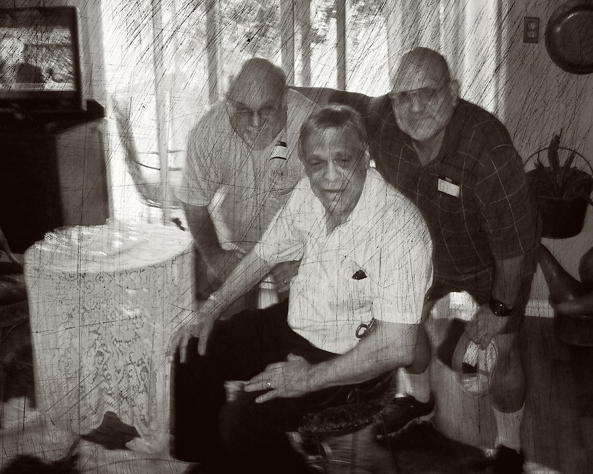 Brother Rich, Uncle Ron, and myself, left to right. First time I'd seen my older brother in years, had nothing to say..<br /> &quot;You are lying while you confess, keep trying to explain.<br /> The sun rises and the sun sets<br /> You realize then you forget what you've been trying to retain.<br /> But everybody knows that it is all about the things<br /> That get stuck inside of your head..&quot;