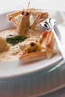 """Europe/France/Bretagne/35/Ille et Vilaine/ Dinard:Soupe crémeuse de Langoustines en Gaspacho  Recette de """"Didier Méril du restaurant Didier Méril"""