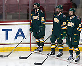 Mario Puskarich (UVM - 21), Brady Shaw (UVM - 22), Mike Lee (UVM - 3) - The visiting University of Vermont Catamounts tied the Boston College Eagles 2-2 on Saturday, February 18, 2017, Boston College's senior night at Kelley Rink in Conte Forum in Chestnut Hill, Massachusetts.Vermont and BC tied 2-2 on Saturday, February 18, 2017, Boston College's senior night at Kelley Rink in Conte Forum in Chestnut Hill, Massachusetts.