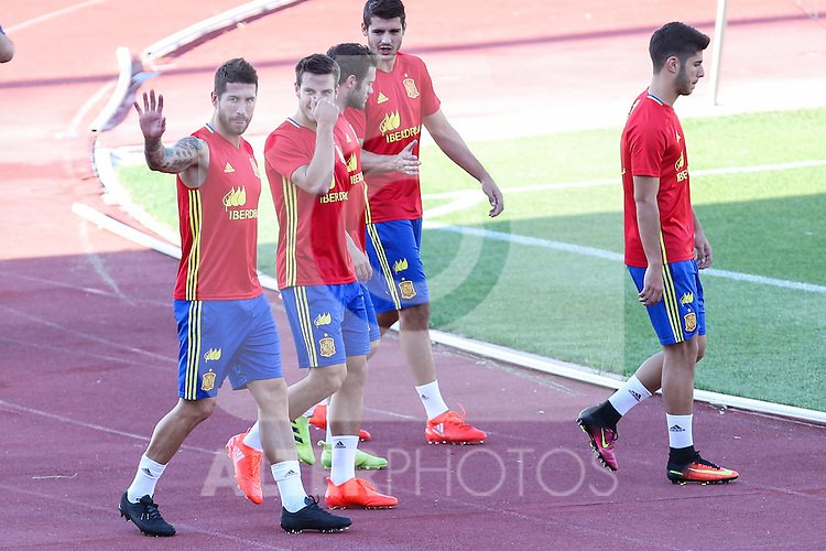 Spanish player Sergio Ramos Cesar Azpilicueta, Juan Mata and Alvaro Morata durign the first training of the concentration of Spanish football team at Ciudad del Futbol de Las Rozas before the qualifying for the Russia world cup in 2017 August 29, 2016. (ALTERPHOTOS/Rodrigo Jimenez)