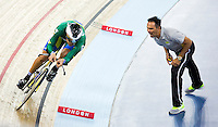 06 DEC 2014 - STRATFORD, LONDON, GBR - Gideoni Monteiro (BRA) (left) riding for Brazil receives advice from his coach during the men's Omnium 4km Individual Pursuit at the 2014 UCI Track Cycling World Cup  at the Lee Valley Velo Park. (PHOTO COPYRIGHT © 2014 NIGEL FARROW, ALL RIGHTS RESERVED)