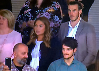 COPY BY TOM BEDFORD<br /> Pictured: Gareth Bale (TOP) watches the Wales v Ireland game with his fiancee Emma (C) and his furure father in law Martin Rhys-Jones (FRONT LEFT) at the Cardiff City Stadium. Monday 09 October 2017<br /> Re: Soccer superstar Gareth Bale has finally been reunited with his fiancee's jailbird dad - and the pair were pictured together for the first time.<br /> Bale, 28, was told being seen with multi-million pound fraudster Martin Rhys-Jones could damage his sponsorship deals.<br /> But the pair were spotted cheering on Wales at their World Cup qualifier against the Republic of Ireland in Cardiff.<br /> Bale knew Rhys-Jones, 52, before he was banged up in the States for masterminding an international shares scam.