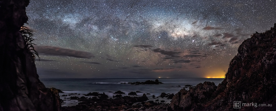 The south coast of Wellington, New Zealand as the Milky Way hangs low just above the horizon. This view is from Devil's Gate looking south across the Cook Strait to the South Island of New Zealand.