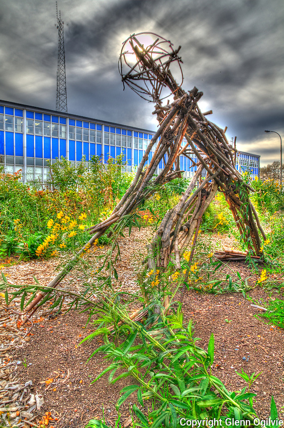 Earth Day sculpture at the natural landscape and community garden at the intersection of Christina Street and Davis Street. Shawn McKnight and Urban Nature Centre
