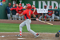 L.J. Kalawaia (5) of the Orem Owlz follows through on his swing against the Ogden Raptors during the Pioneer League game at Lindquist Field on September 9, 2016 in Ogden, Utah. This was Game 1 of the Southern Division playoff. Orem defeated Ogden 6-5. (Stephen Smith/Four Seam Images)