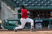 Fort Wayne TinCaps Xavier Edwards (9) hits a sacrifice fly during a Midwest League game against the Fort Wayne TinCaps at Parkview Field on April 30, 2019 in Fort Wayne, Indiana. Kane County defeated Fort Wayne 7-4. (Zachary Lucy/Four Seam Images)