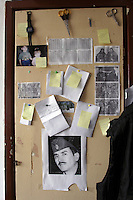 The board on a wall in one of the room with the pictures of children, portrait of the former  President of Chechnya Dzhokhar Dudayev  killed by Russian force on the 21st of April,1996 and pictures of rebels whove fighted for freedom. URiC Wolomin Refugee Centre in Poland.