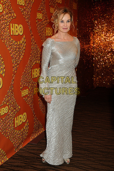 JESSICA LANGE.HBO's 2010 67th Golden Globe Awards Post Party held at the Beverly Hilton Hotel, Beverly Hills, California, USA..January 17th, 2009.globes full length silver grey gray long sleeves maxi dress.CAP/ADM/BP.©Byron Purvis/Admedia/Capital Pictures