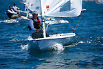 Day 3 of the Sail Sydney 2009 regatta, Laser full rig Olympic class..Held annually Sail Sydney take place from the 5-8 December 2009 on the magnificent Sydney Harbour as part of the Sail Down Under series, incorporating Sail Brisbane, Sail Sydney and Sail Melbourne..Competitors from around the world bring Sydney Harbour to life as athletes look to establish themselves on the sailing scene in the lead up to the London Olympics in 2012..The four day regatta incorporate Olympic, International and Youth classes on the three Sydney Harbour courses used by the 2000 Sydney Olympics. Spectacular action from the 49er and International Moth classes can be expected along with the Laser, Laser Radial, Finn, RS:X and 470s as they campaign towards 2012..Over 400 participate and sail out of host venue: Woollahra Sailing Club in Rose Bay.