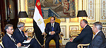 Egyptian President Abdel Fattah el-Sissi meets with Italian Foreign Minister Paolo Gentiloni, in cairo, Nov. 24, 2014. El-Sissi was meeting with Italian Premier Matteo Renzi and then Tuesday with Italian and Egyptian entrepreneurs before heading to Paris. His visit was expected to focus on investment, fighting terrorism and the flow of migrants from conflicts in the Middle East and Africa toward Europe. Photo by Egyptian Presidency