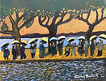 The Umbrellas of Hangzhou<br /> <br /> 11x14 Acrylic on Canvas Original Painting with gorgeous bronze accent paints.<br /> $5,500