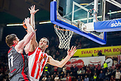 9th February 2018, Aleksandar Nikolic Hall, Belgrade, Serbia; Euroleague Basketball, Crvenz Zvezda mts Belgrade versus AX Armani Exchange Olimpia Milan; Center Arturas Gudaitis of AX Armani Exchange Olimpia Milan in action against Center Stefan Jankovic of Crvena Zvezda mts Belgrade under the basket