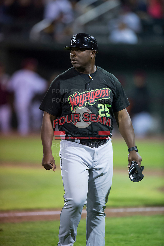 Great Falls Voyagers hitting coach Eric Richardson (25) during a Pioneer League game against the Idaho Falls Chukars at Melaleuca Field on August 18, 2018 in Idaho Falls, Idaho. The Idaho Falls Chukars defeated the Great Falls Voyagers by a score of 6-5. (Zachary Lucy/Four Seam Images)