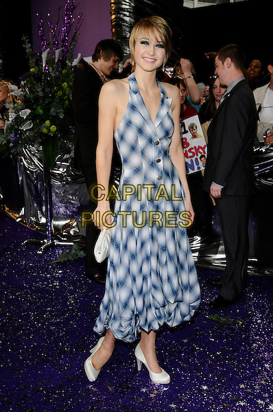 ASHLEY SLANINA-DAVIES.Attending the British Soap Awards 2008.BBC Television Centre, Wood Lane, London, England, 3rd May 2008.full length blue white plaid check checkered halterneck dress clutch bag purse shoes.CAP/CAN.© Can Nguyen/Capital Pictures