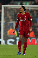 5th November 2019; Anfield, Liverpool, Merseyside, England; UEFA Champions League Football, Liverpool versus Genk; Virgil van Dijk of Liverpool shouts instructions to his team mates  - Editorial Use