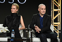"""PASADENA - JANUARY 13: (L-R) Cast members Poppy Delevingne and T.R. Knight during the """"GENIUS: PICASSO"""" panel at the NATIONAL GEOGRAPHIC portion of the 2018 Winter TCA Press Tour at the Langham Huntington Hotel on January 13, 2018, in Pasadena, California. (Photo by Frank Micelotta/National Geographic/PictureGroup)"""