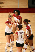 10 November 2005: Franci Girard, Kristin Richards, Foluke Akinradewo and Katie Goldhahn during Stanford's 3-0 win over Arizona State at Maples Pavilion in Stanford, CA.