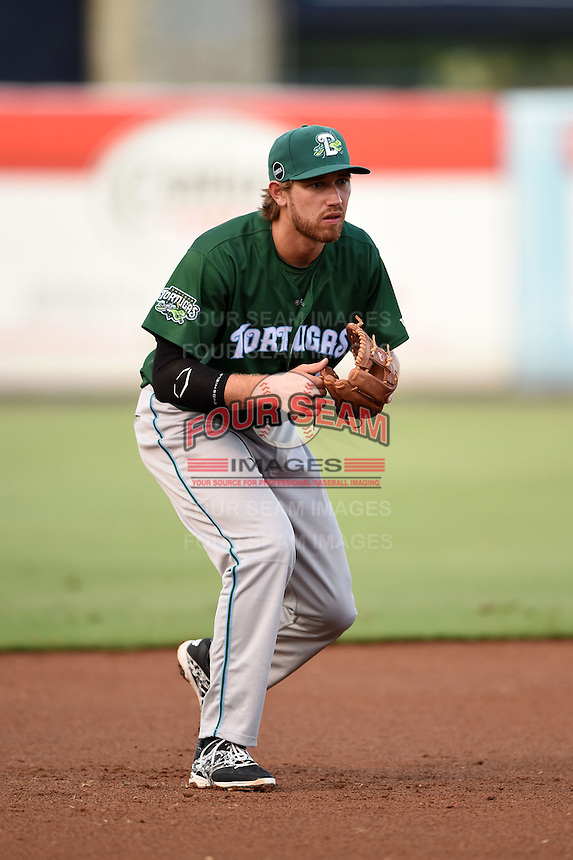 Daytona Tortugas third baseman Taylor Sparks (12) during a game against the Tampa Yankees on April 24, 2015 at George M. Steinbrenner Field in Tampa, Florida.  Tampa defeated Daytona 12-7.  (Mike Janes/Four Seam Images)