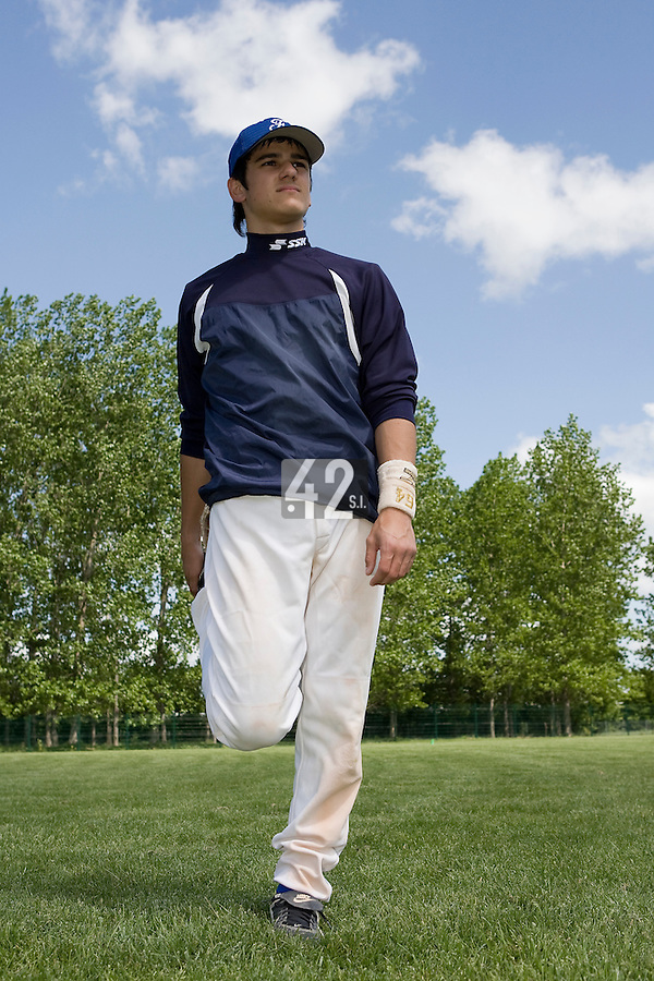 30 April 2008: Maxime Lefevre of France warms up during the first of seven 2008 MLB European Academy Try-out Sessions throughout Europe, at Stade Kandy Nelson Ball Park, in Toulouse, France. Try-out sessions are run by members of the Major League Baseball Scouting Bureau with assistance from MLBI staff.