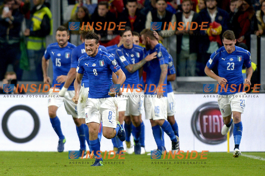 Esultanza Alessandro Florenzi Italy dopo gol 1-1, goal celebration,<br /> Torino 06-10-2016 Juventus Stadium <br /> World Cup Qualifiers Italy - Spain / Italia - Spagna. Foto Filippo Alfero / Insidefoto