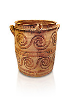 Minoan  bridge spouted jars decorated with swirls, Archanes Palace  1600-1450 BC; Heraklion Archaeological  Museum, white background.