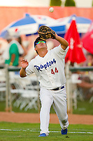 Ogden Raptors first baseman Tae-Hyeok Nam (44) catches a foul pop fly during the Pioneer League game against the Orem Owlz at Lindquist Field on July 28, 2012 in Ogden, Utah.  The Raptors defeated the Owlz 8-7.   (Brian Westerholt/Four Seam Images)