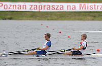 Poznan, POLAND,  GBR LM2X, Bow, [R] Rob WILLIAMS and Paul MATTICK,  training on the Poznan, Malta Rowing Lake venue for the 2009 FISA World Rowing Championships. Saturday  22/08/2009 [Mandatory Credit. Peter Spurrier/Intersport Images]