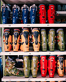 ARGENTINA, Bariloche, Cerro Cathedral, variation of ski boots displayed for sale