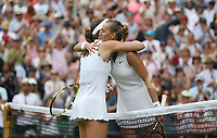 Johanna Konta (GBR) and Petra Kvitova (CZE) after their Ladies' Singles Fourth Round match<br /> <br /> Photographer Rob Newell/CameraSport<br /> <br /> Wimbledon Lawn Tennis Championships - Day 7 - Monday 8th July 2019 -  All England Lawn Tennis and Croquet Club - Wimbledon - London - England<br /> <br /> World Copyright © 2019 CameraSport. All rights reserved. 43 Linden Ave. Countesthorpe. Leicester. England. LE8 5PG - Tel: +44 (0) 116 277 4147 - admin@camerasport.com - www.camerasport.com