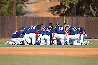 The Shippensburg Raiders gather together prior to the game against the Belmont Abbey Crusaders at Abbey Yard on February 8, 2015 in Belmont, North Carolina.  The Raiders defeated the Crusaders 14-0.  (Brian Westerholt/Four Seam Images)
