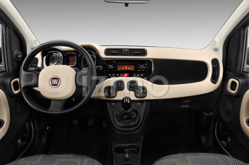 Stock photo of straight dashboard view of 2016 Fiat Panda-4X4 Pop 5 Door Hatchback Dashboard