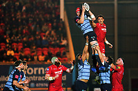 Seb Davies of Cardiff Blues (TOP L) grabs the ball from a line out during the Guinness PRO14 match between Scarlets and Cardiff Blues at Parc Y Scarlets Stadium, Llanelli, Wales, UK. Saturday 28 October 2017