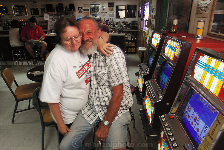 Near Area 51, Nevada, Extraterrestrial Highway.  Joe and Pat Travis owners of the 'Little A'le'Inn' bar/restaurant on the Extraterrestrial Highway 375, north of town of Rachel, Nevada 1999. Model released.