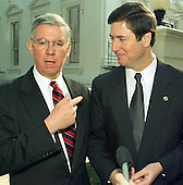 Governor Parris Glendening (Democrat of Maryland), left,  and Governor George Allen (Republican of Virginia), right, meet reporters following the National Governors' Association meeting with United States President Bill Clinton at the White House in Washington, DC on February 3, 1997.  Glendening, a Democrat, and Allen, a Republican, govern neighboring states but do not agree on a lot of issues.<br /> Credit: Ron Sachs / CNP