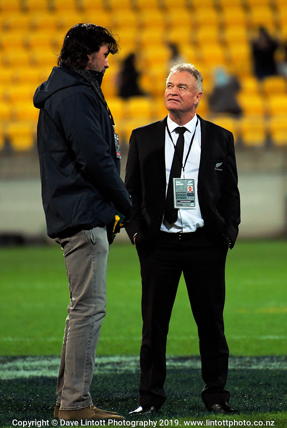 Victor Matfield talks to Grant Fox after the Rugby Championship rugby union match between the New Zealand All Blacks and South Africa Springboks at Westpac Stadium in Wellington, New Zealand on Saturday, 27 July 2019. Photo: Dave Lintott / lintottphoto.co.nz