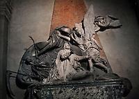 Tomb of Jean-Baptiste Joseph LANGUET de Gergy by Rene Michel SLODTZ, 1705-64, Eglise Saint-Sulpice (St Sulpitius' Church), c.1646-1745, Paris, France. Jean-Baptiste Joseph LANGUET de Gergy, 1677-1753, was a French archbishop and theologian. The sculpture features an angel (right) and Death or the Grim Reaper (left), representing the Christian's defeat of death. Picture by Manuel Cohen