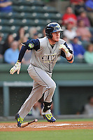 Designated hitter Dash Winningham (34) of the Columbia Fireflies bats in a game against the Greenville Drive on Friday, April 22, 2016, at Fluor Field at the West End in Greenville, South Carolina. Columbia won, 5-3. (Tom Priddy/Four Seam Images)
