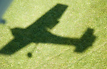 Aerial view of shadow of aircraft
